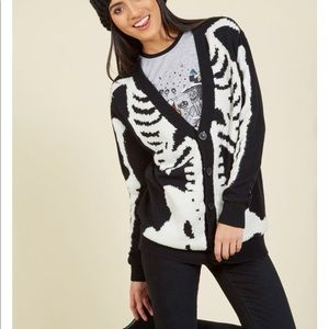 Cotton Button Up Skeleton Cardigan
